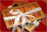3 gold boxes of signature baklava (12 pistachio, 2 burma fingers, 12 walnut, 2 burma fingers, & 12 mini rose 2-3 burma finger rolls)